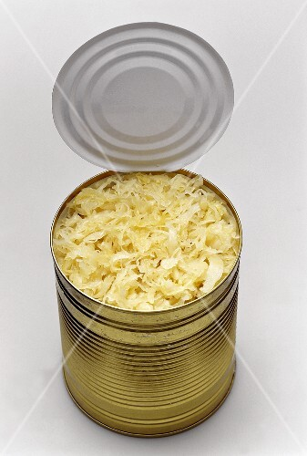 Sauerkraut in an opened tin