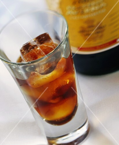 Averna in glass and bottle