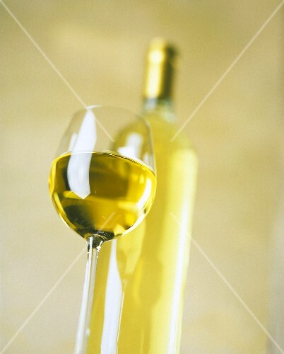 A Glass of White Wine; Wine Bottle