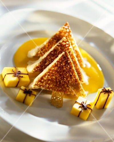 Sesame parfait on mango sauce