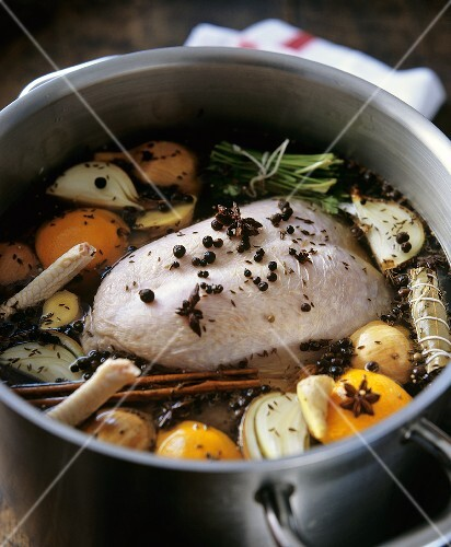 Boiling fowl in vegetable stock
