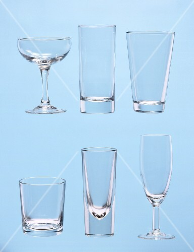 Various glasses for cocktails and co.