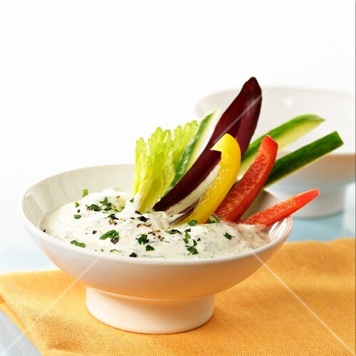 Yoghurt and herb dip with vegetable sticks
