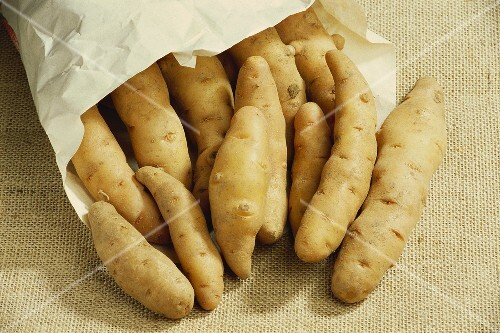 Bamberger H&#246;rnchen potatoes in a paper bag
