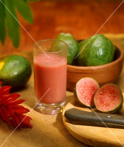Juice of the 'pink guave', or guayaba (Venezuela)