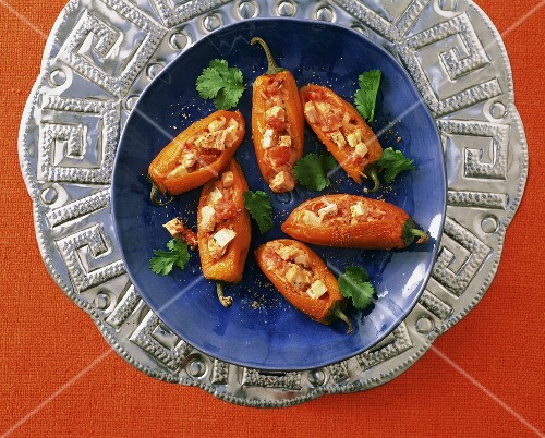 Chile rellenos (chili peppers stuffed with chicken, Mexico)