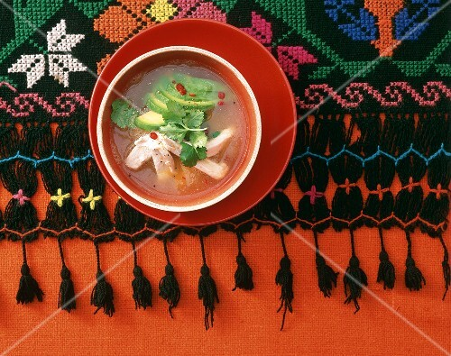 Caldo tlalpeno (chicken & avocado soup with chili, Mexico)