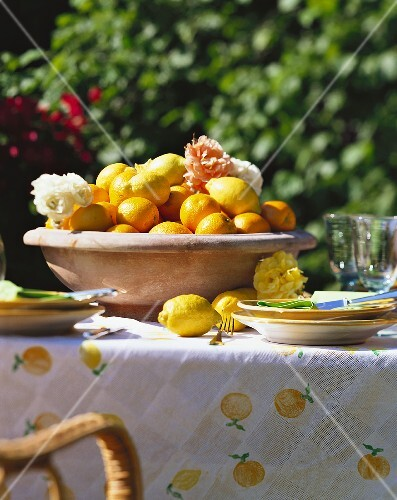 Bowl of Lemons and Oranges on a Table