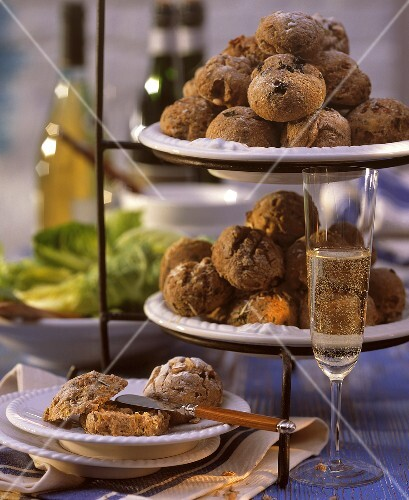 Party rolls on plate & tiered stand; champagne glass (1)