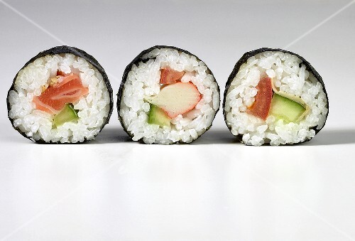 Three different Maki sushi