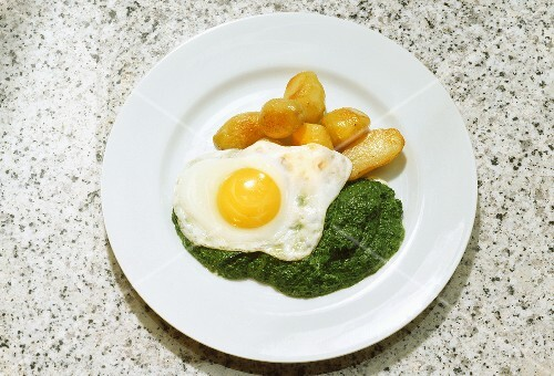 Fried Egg with Potatoes and Spinach