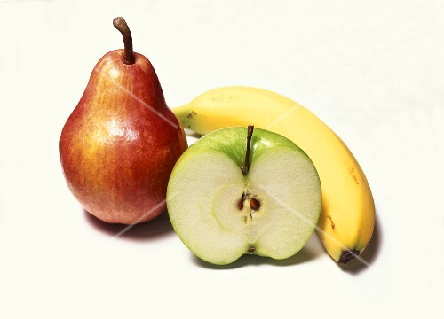 Still life with pear, apple and banana