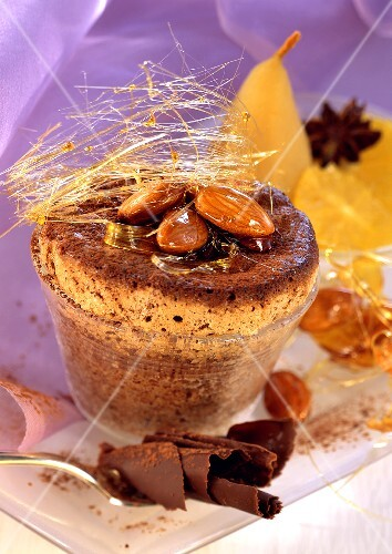 Almond chocolate soufflé with caramel strands