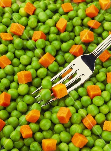 Peas and Carrots; Fork (Full Frame)