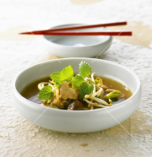 Chicken and sprout soup with lemon balm (Korea)