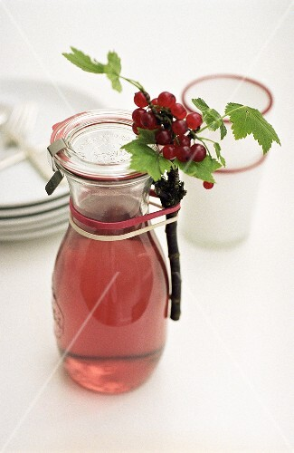Home-made redcurrant vinegar in carafe
