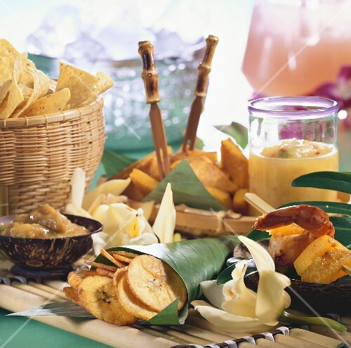 Assorted Caribbean snacks