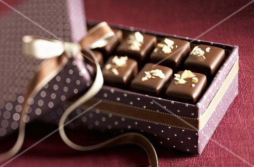 Nougat chocolates in gift box