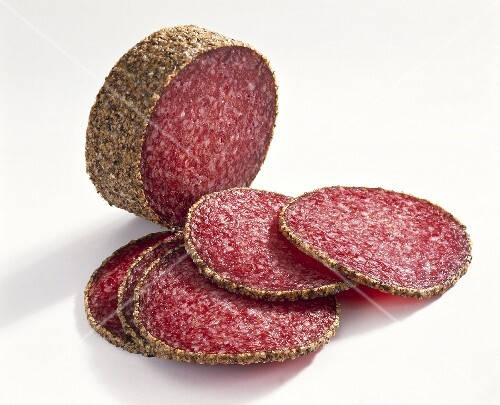 Pepper salami, partly sliced