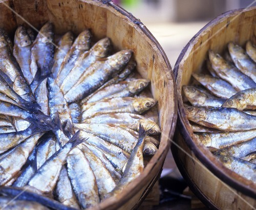 Sardines in wooden containers