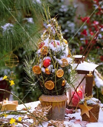 Christmas arrangement of pine branches with decorations