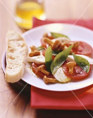 tomaten mozzarella salat mit gebratenen pfifferlingen bild kaufen 280070 stockfood. Black Bedroom Furniture Sets. Home Design Ideas