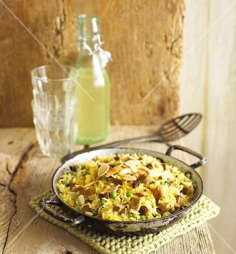 Lamb biryani with flaked almonds