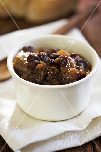 Rhubarb and ginger chutney with sultanas
