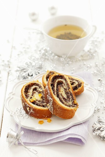 Poppy seed strudel and tea (Christmas)
