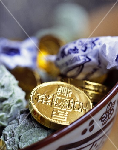 Gold coins: Chinese good luck symbols for New Year