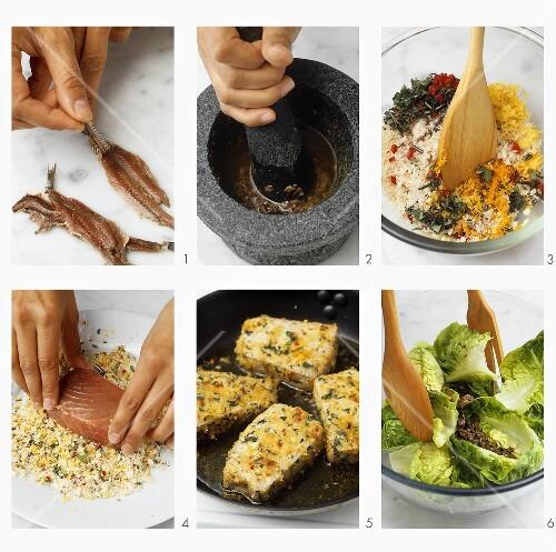 salat mit thunfisch und anchovis zubereiten bild kaufen 277294 stockfood. Black Bedroom Furniture Sets. Home Design Ideas