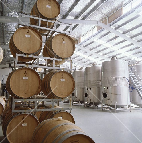 Wine barrels and steel tanks, Selaks Wines, N. Zealand