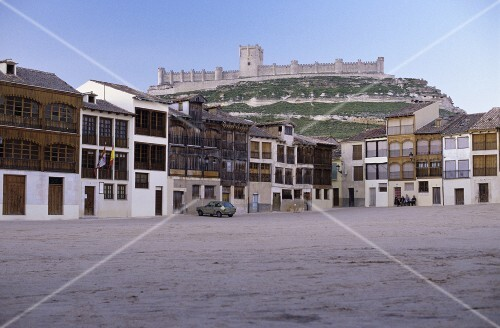 Old village square in Penafiel, Ribera del Duero, Spain