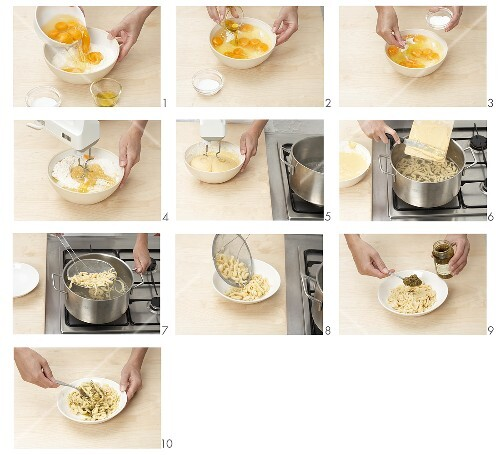 Making spaetzle (a type of noodle)