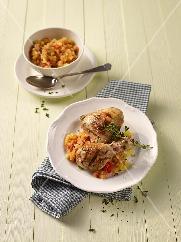 Spicy chicken legs with papaya salsa