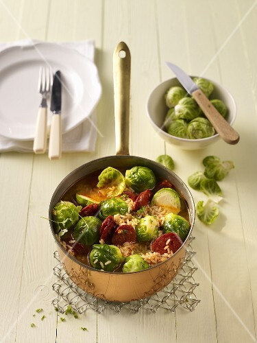 Brussel sprouts with rice and chorizo