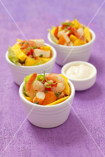 Prawn and surimi salad with mango, chilli and a horseradish dip