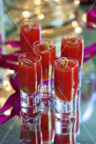 Oyster shooters (tomato juice with oysters) for Christmas