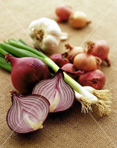 Various onion family vegetables