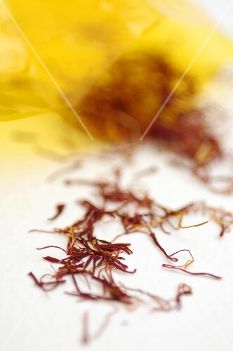 Saffron Threads on White Background