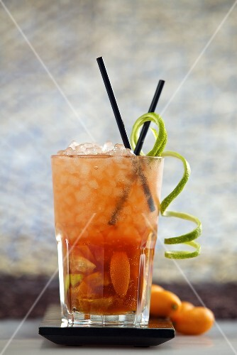 Tatanka (cocktail made with limes, kumquats, vodka, Campari,soda water and cane sugar)