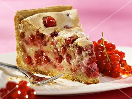 A piece of redcurrant almond tart