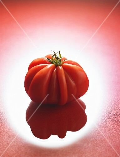 A beefsteak tomato (variety: 'Coeur de Boeuf')
