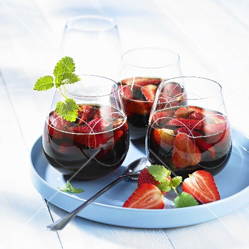 Red wine punch with strawberries