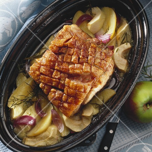 Danish roast pork with crackling, apples and onions – buy ...