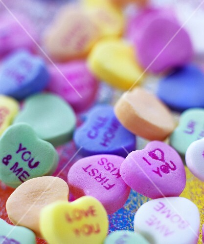 Coloured sugar hearts for Valentine's Day