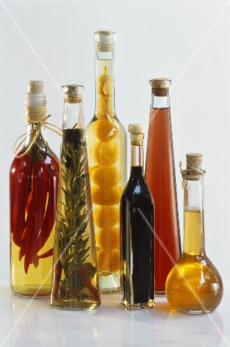 Various home-made vinegars in bottles