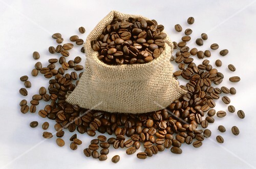 Sack of roasted coffee beans