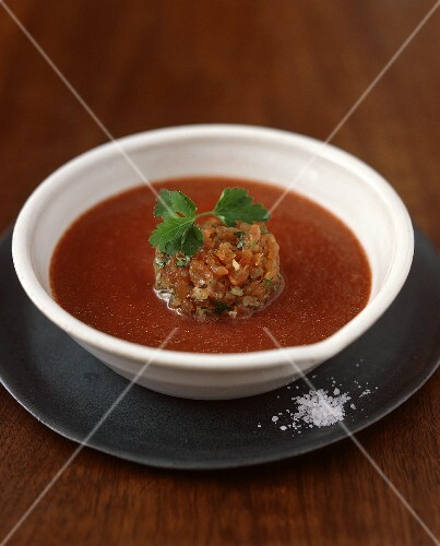 Beetroot and vegetable gazpacho with tuna tartar