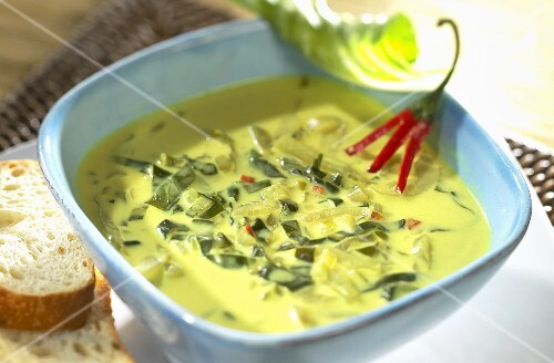 Chard soup with coconut milk